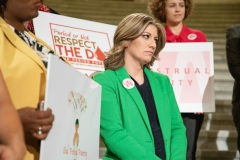 October 22, 2019: Senator Katie Muth joins other legislators and activists in rallying support for menstrual equity legislation in the House and Senate.