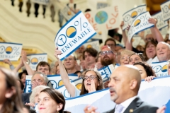 June 19, 2019:  State Senator Katie Muth was joined by several hundred people at a rally calling for 100 percent renewable energy to Pennsylvania by 2050.